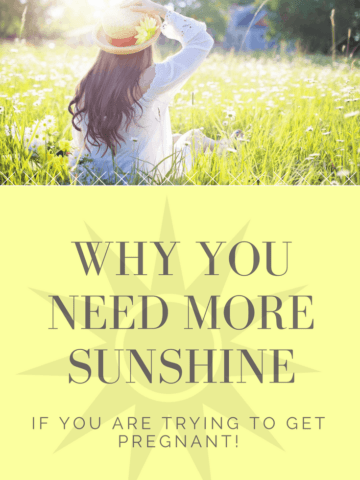 Sunshine fights infertility, increases fertility, and helps your chances of conception! If you are trying to get pregnant, get out and enjoy some sunshine! Great TTC Tip!