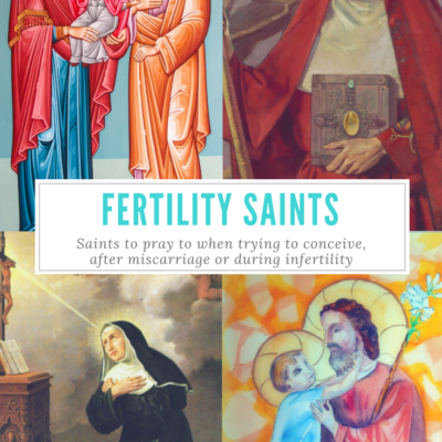 Catholic Patron Saints of Fertility, Infertility, Trying to Conceive, Getting Pregnant, and Pregnancy. St. Rita, St. Anne, St. Joachim, St. Gianna, St. Eulalia, St. Catherine, St. Brigid, St. Collette, St. Joseph, St. Anthony, St. Jude, St. Gerard, St. Raymond, St. Philomena.