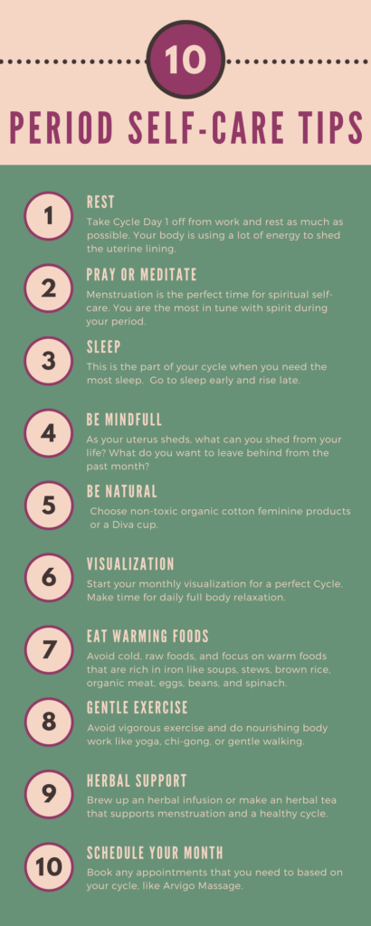 10 Simple Period Self-Care Tips to Increase Fertility when Trying to Conceive. Also helps with the grief with prolonged TTC when struggling with infertility.