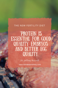 Protein is essential to the fertility diet! Find out what the research says about exactly how much to eat when TTC or struggling with infertility!