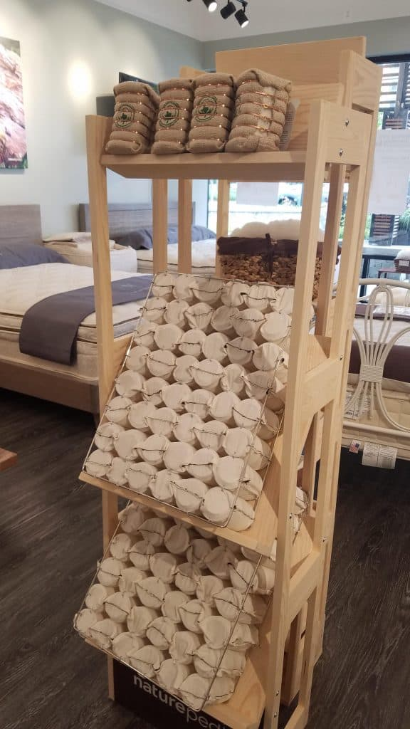 Organic mattress with organic cotton coils at Naturepedic Store in Bethesda