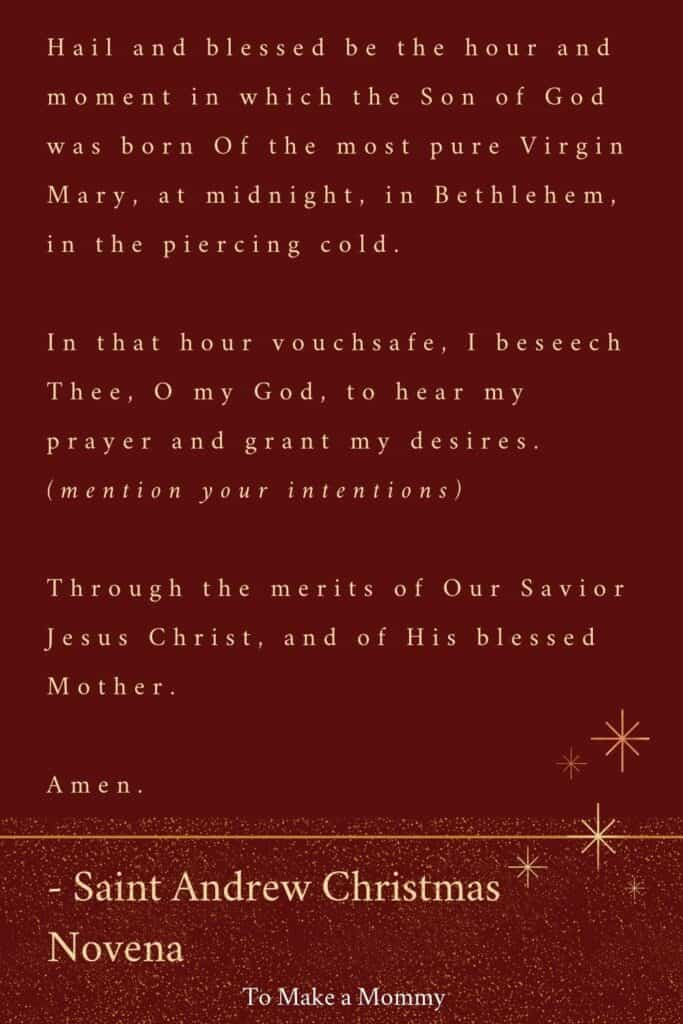 Saint Andrew Christmas Prayer